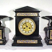 3 Piece Clock Set Black with Blue Enamel