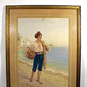 Watercolor Young Fishermen by Luigi Olivetti