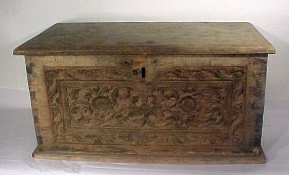 Old European Primitive Carved Chest Trunk