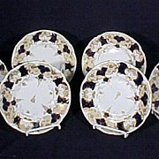 6 Enameled Porcelain English Desert Plates
