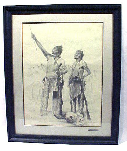 American Indian Print Signed Brown & Bostwick