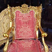19th Century Carved Wood Gold Gilt Arm Chair