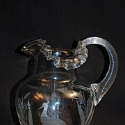 Engraved Glass Pitcher Signed Webb Bird in Marshes