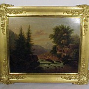 Oil on Tin Painting Lake Cottages Mountains Gold Gilt Frame
