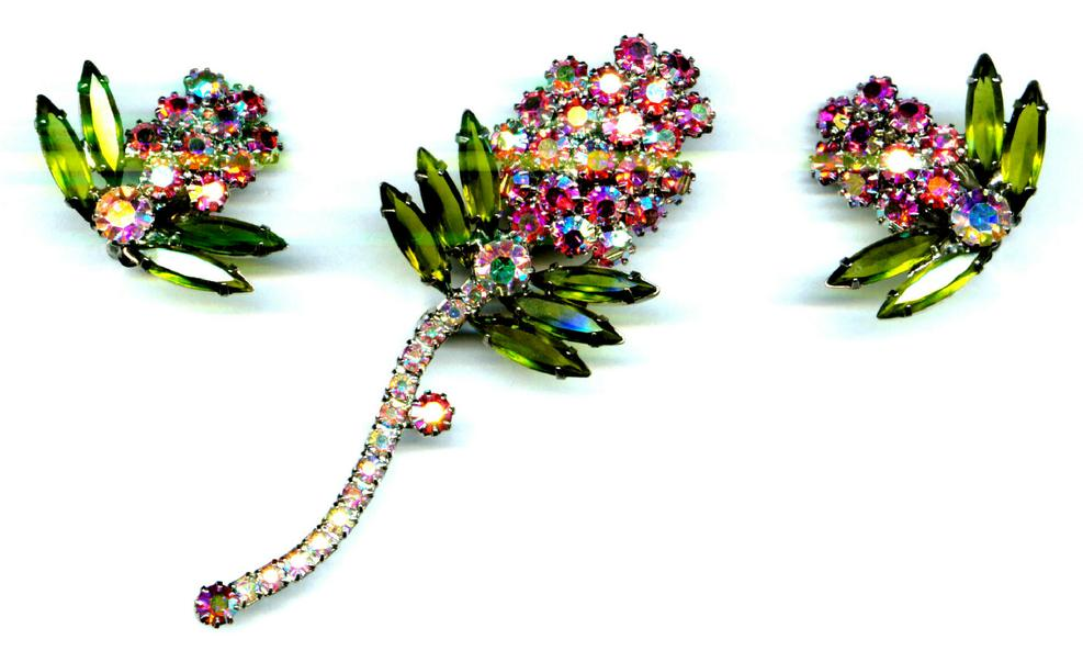 Rhinestone Pin & Earrings Elegant
