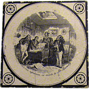 19th. Century English Tea Tile- Charles Dickens Scene