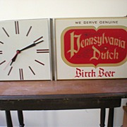 PA Dutch Birch Beer Lighted Clock Sign