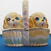 Vintage Spaniel Puppy Dogs in Basket Salt and Pepper Shaker Set