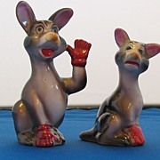 Vintage Shafford Waving Kangaroo in Red Gloves Salt and Pepper Shaker Set