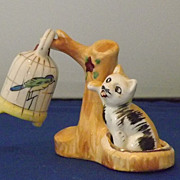 Vintage Cat Swatting At Bird Salt and Pepper Shakers