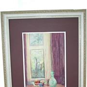 Lovely Interior Scene Water Color Painting on Board E M Freemantle Greensways 1920 Bucks Count