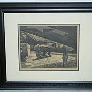 Listed Artist FRANKLIN BOGGS WWII Signed 1940�s Lithograph