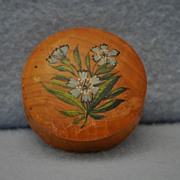 Small wooden treen round box