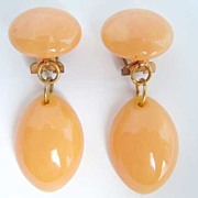 SOLD Marbled Peach Bakelite Dangle Clip Earrings