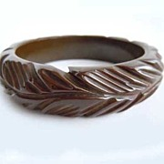 SOLD Milk Chocolate Thick Carved Bakelite Bracelet