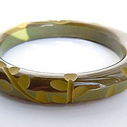SOLD Olive Green Carved Floral Design Bakelite Bracelet