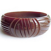 SOLD Milk Chocolate Carved Bakelite Bracelet