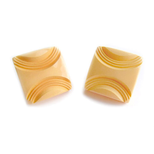Vintage Square Creamed Corn Deep Carved Bakelite Earrings