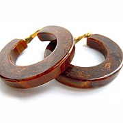 SOLD Brown Marbled Bakelite Loop Earrings