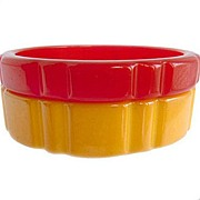 SOLD Red and Yellow Scallop Shaped Bakelite Bracelets