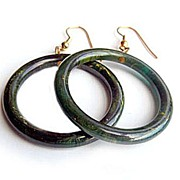 SOLD Marbled Blue Moon Bakelite Loop Earrings
