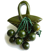 SALE Vintage Green Bakelite Basket and Hanging Berries Pin