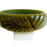 SOLD Bakelite Olive Green Sunflower Carved Bangle Bracelet