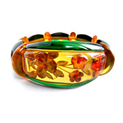 Bakelite Apple Juice Reverse Carved Floral Stretchy Bracelet