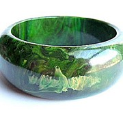 SOLD Thick Green Marbled Bakelite Bracelet