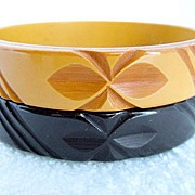 SOLD Black and Butterscotch Carved Bakelite Bracelets