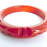 SOLD Brick Red Carved Bakelite Bracelet