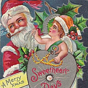 Santa & Cupid Merry Christmas Sweetheart Days Post Card