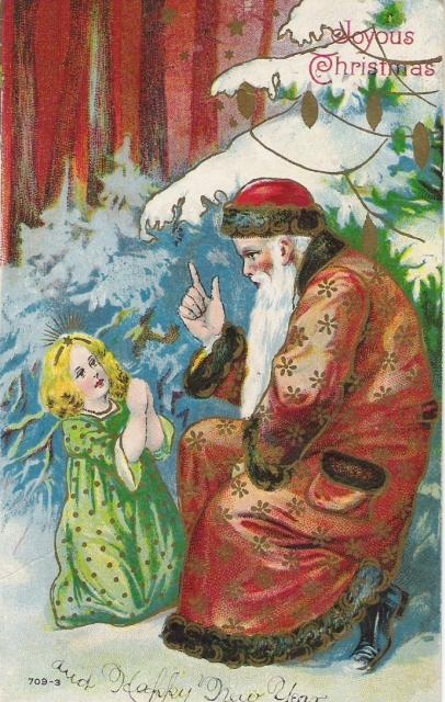 German Belsnickle Santa Praying with Little Girl