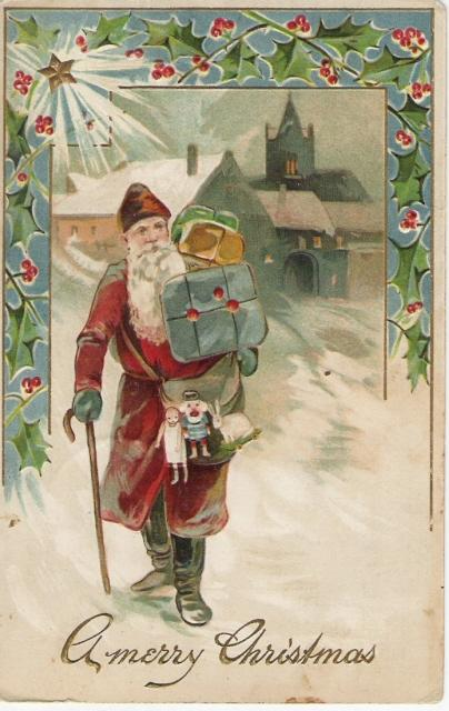 German Belsnickle Santa Delivering Toys on Foot