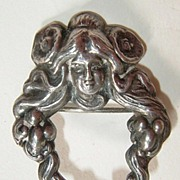 Sterling Art Nouveau Lovely Lady Brooch  925 circa 1905