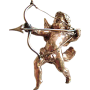 Cast Angel Cherub Full Body Brooch Victorian-Edwardian