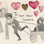 Die Cut Hearts Edwardian Children Valentine