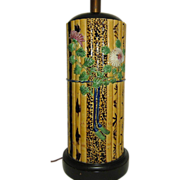 Bamboo Pattern Majolica Table Lamp  Fantastic and Tall