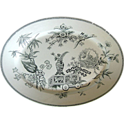 Aesthetic Movement Black & White Turkey Platter and  Matching Tea Tile