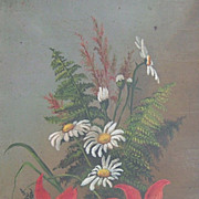 Victorian Oil on Canvas  Mixed Bouquet Floral & Ferns
