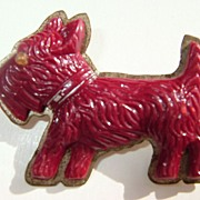 Bing Cherry Red Bakelite Scottie Dog Brooch Nice Carving