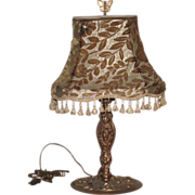 Art Nouveau Table Lamp Nouveau Lady with Original Cut Velvet Shade + Finial