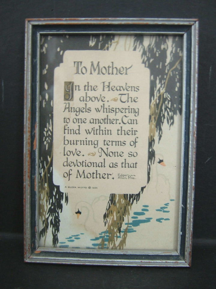 1925 Edgar Allan Poe Mother Motto Framed Print