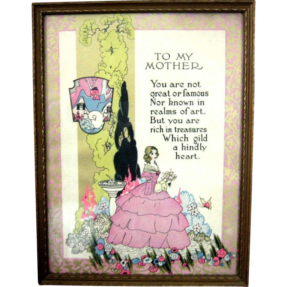 Mother Motto Print  &quot;To My Mother&quot; Art Deco Era Framed