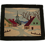 Hand Hooked Quebec Rug Village Scene  Circa 1900