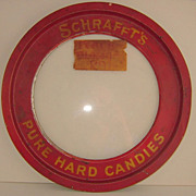 Schraffts Candy Store Tin Lid Glass Center with Old Red Paint
