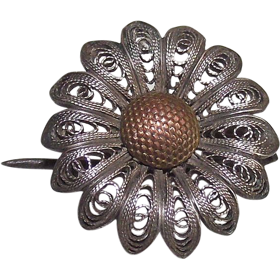 Sterling Silver Wire Work Sunflower Victorian Brooch