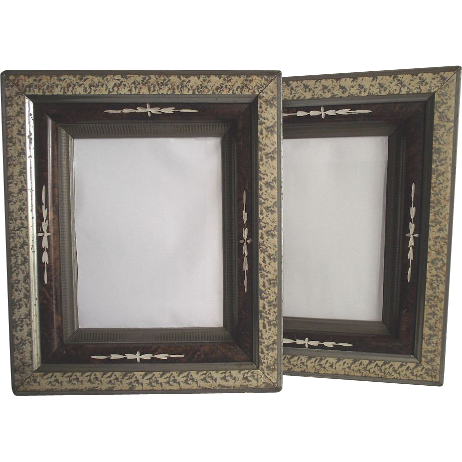 1870's Deep Walnut Mirrored Frames with Sponge Decoration