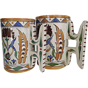 Italian Faience Mugs Galvani circa 1900-20 Matched Pair