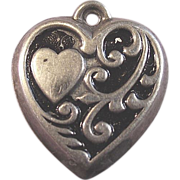 Sterling Silver Heart in a Heart Enamel Puffy Charm